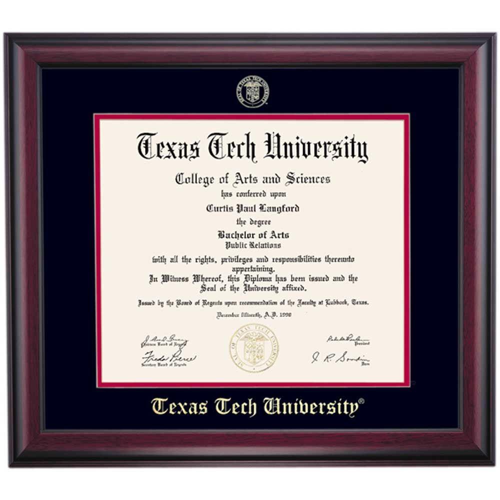 Texas Tech School Color Traditional | Texas Tech University Diploma ...