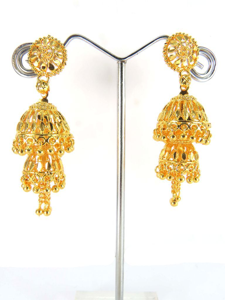 Double Jhumka Gold Plated Earrings Whole Costume Indian Jewelry