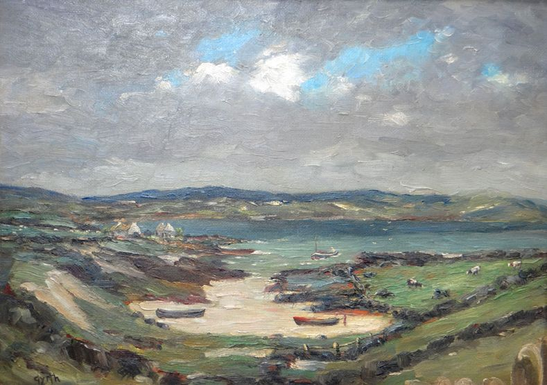 GYRTH RUSSELL oil on board - Irish landscape entitled verso 'Bally Connelly Bay, Connemara', sign