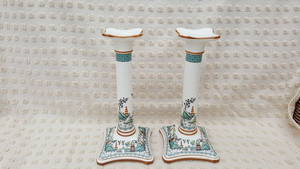 Stunning pair of Coalport Chinese Willow Candlesticks.