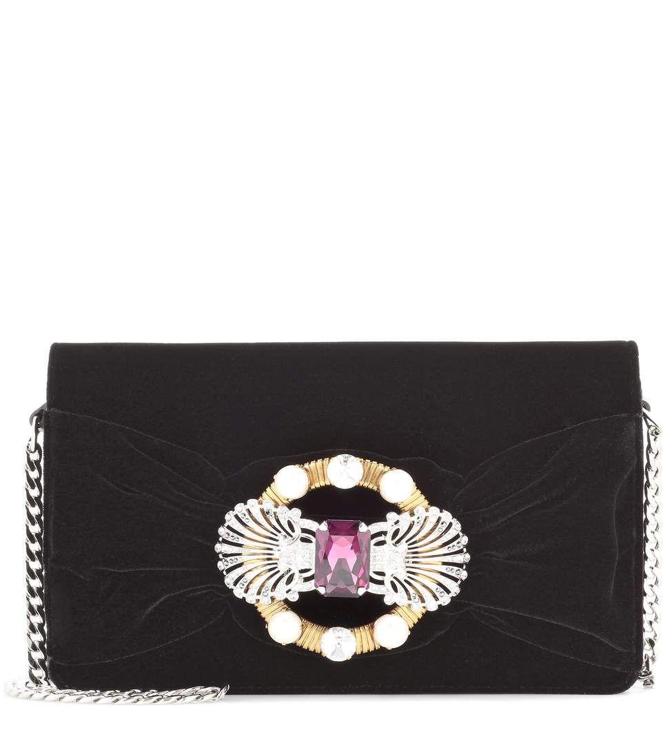 MIU MIU Embellished Black Velvet Shoulder Bag  2bd0d401c1f9b
