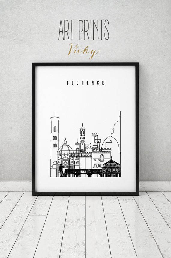 Florence Print Wall Art Minimalist Black White By Artprintsvicky City Wall Art Poster Prints Wall Art Prints