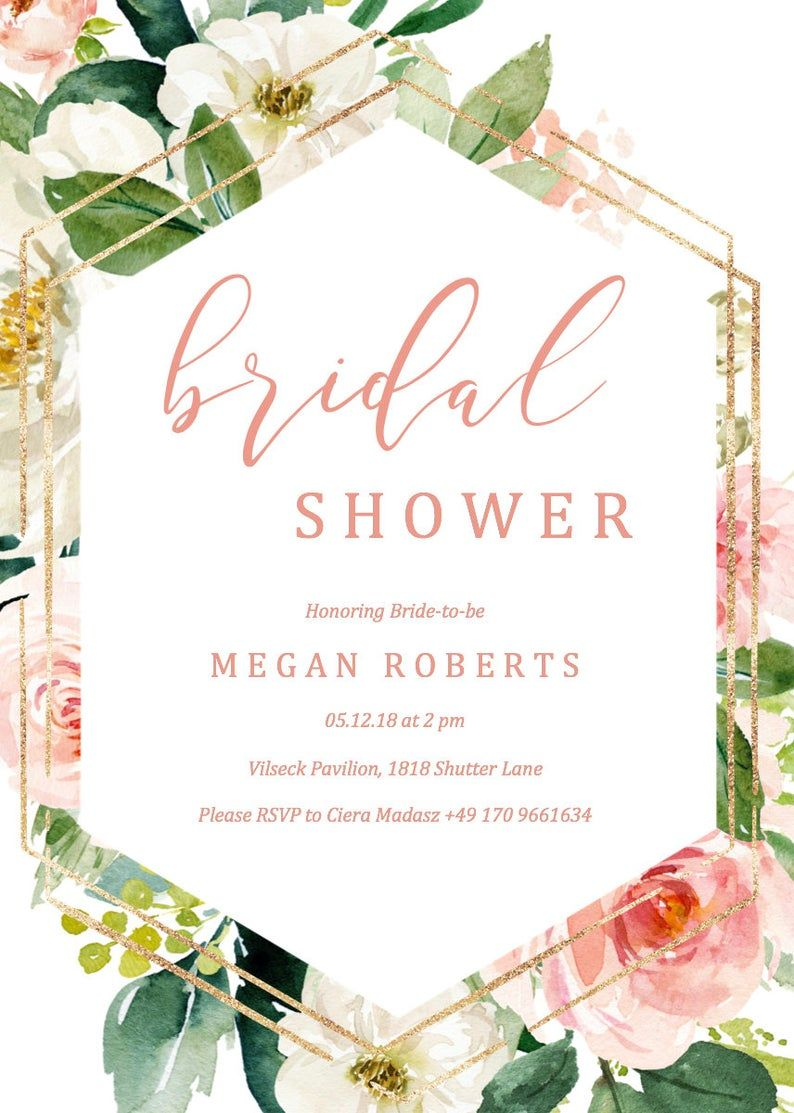 Blush Bridal Shower Invitation Template Bridal Shower