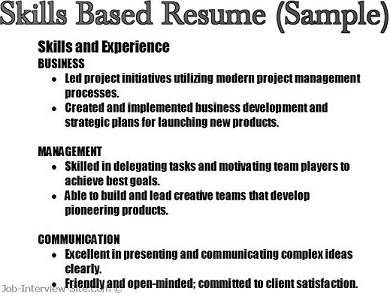 resume with skills