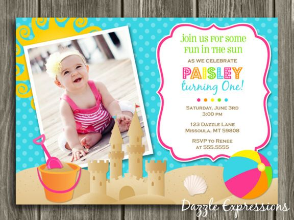 Printable girl beach party birthday invitation summer birthday printable girl beach party birthday invitation summer birthday party idea sand castle pool or swimming party free thank you card included matching filmwisefo