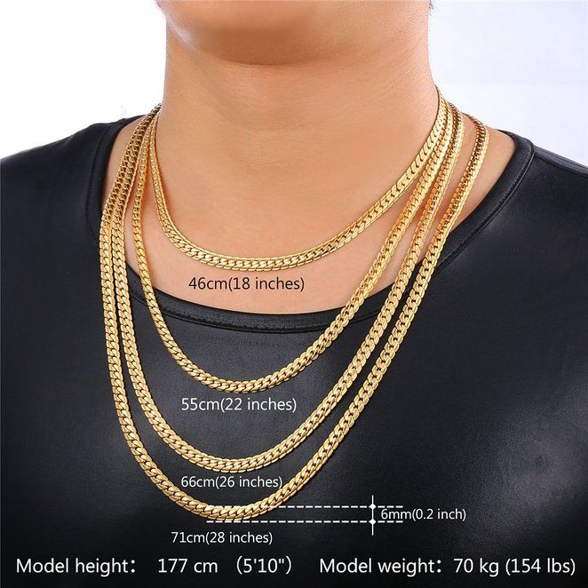 9e26df9e29c68 28 Inches Snake Chain For Men 18K Gold Plated Hip Hop Style Men Necklace