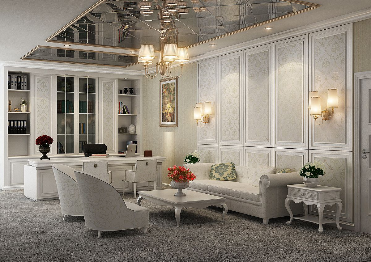 White classic luxury theme on manager room classic white for Luxury classic interior design