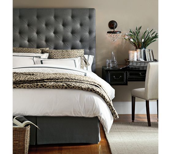 Lorraine Tufted Tall Bed Headboard | Pottery Barn textured basket ...