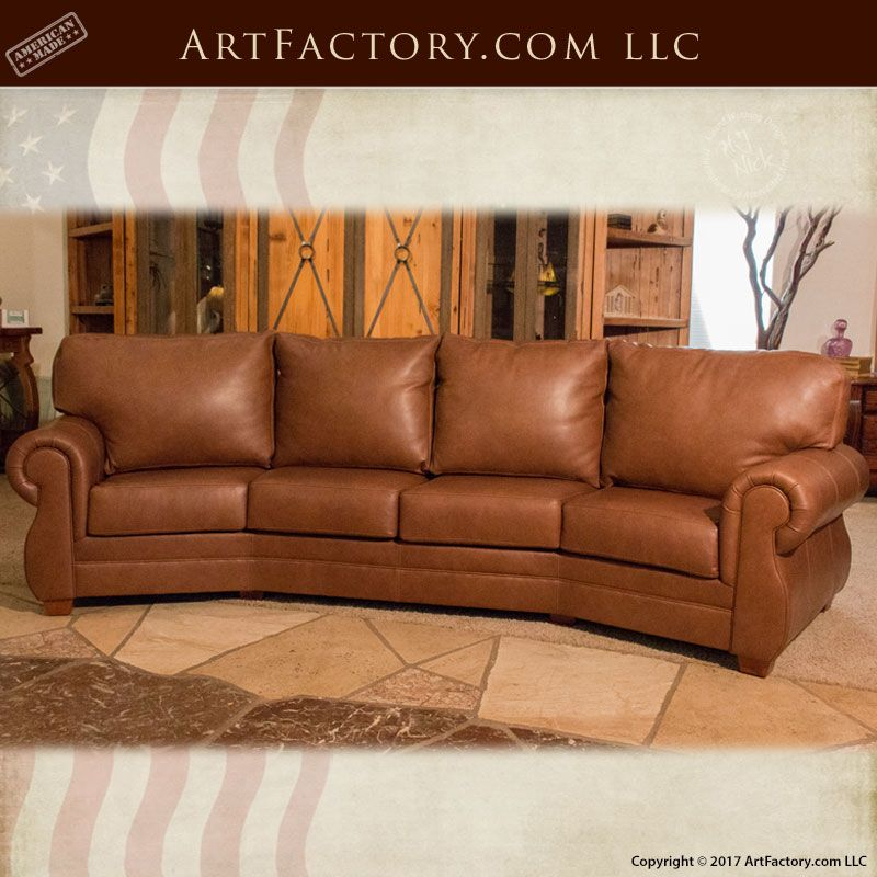 Custom Curved American Made Full Grain Leather Sofa  CLS8902