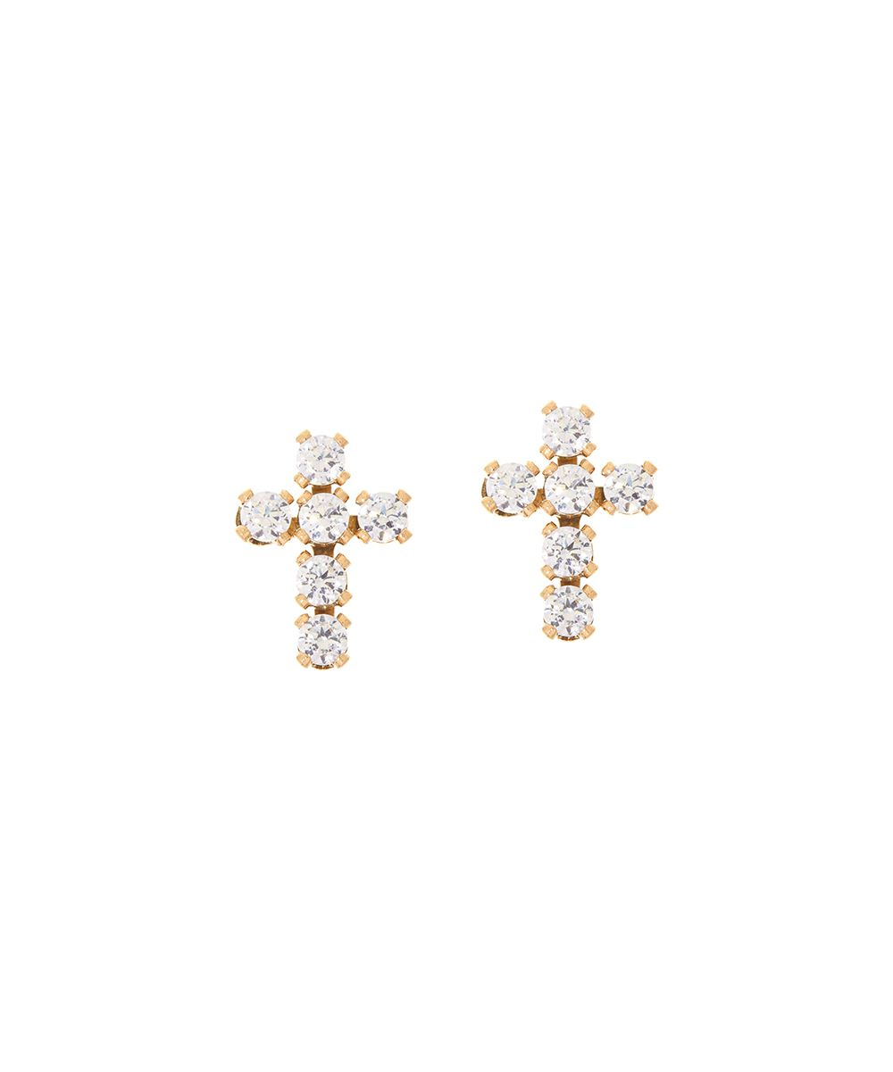 Diamonique Yellow Gold Cross Stud Earrings Products Pinterest