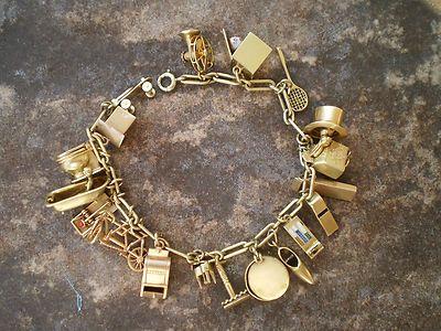 e30946d2f9bdf Vintage Gold Charm Bracelet 1930s 1940s 3D 14k 18K 10K Yellow 18 ...