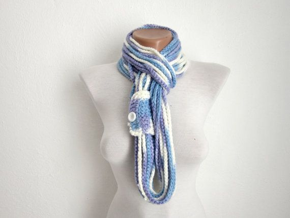 Crochet Scarf infinity  Blue Lilac White   Necklace by nurlu, $14.00