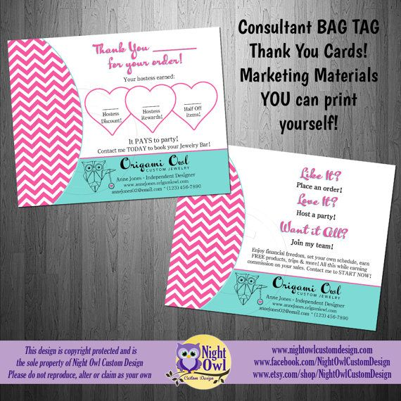 Origami Owl Consultant Bag Tag Thank You For Your Purchase Card By