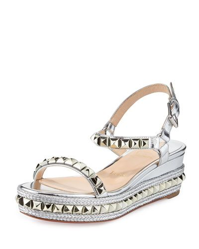 034e1d50ad1 CHRISTIAN LOUBOUTIN Cataclou Metallic Studded Red Sole Sandal ...