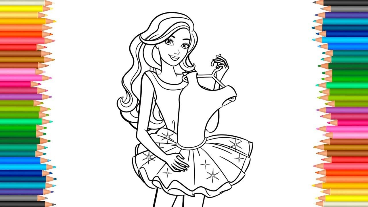 Glitter Barbie Dress Coloring Pages Barbie Princess Coloring Book Ba Mermaid Coloring Pages Kids Coloring Books Disney Coloring Pages