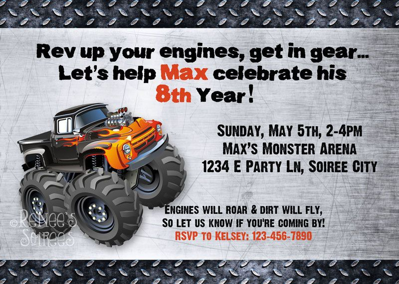 monster truck birthday invitation printable invite customizable