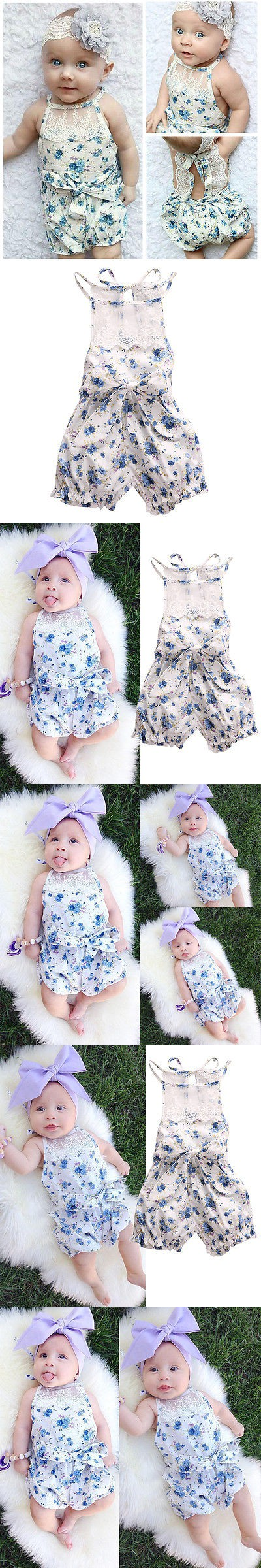 9b9e3bffb0ce 2016 New Cute Baby Girls Clothes 0-18M Infant Kids Summer Sleeveless Lace  Romper Newborn Girl Floral Baby Rompers