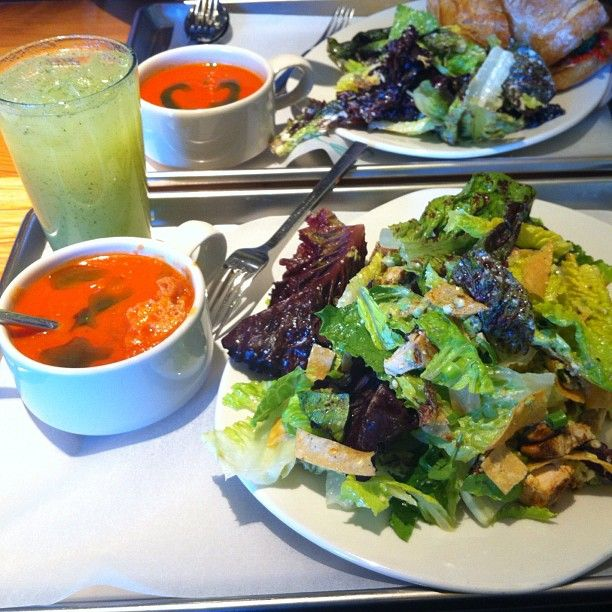 """Chipotle BBQ chicken salad with tomato soup and mint lemonade @ Tender Greens"""