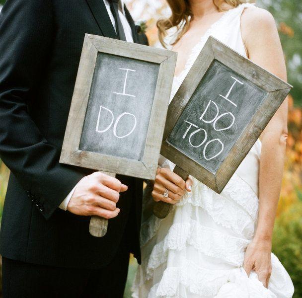 Cute chalkboard wedding signs.
