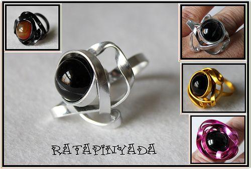 Flat Wire Rings with gemstones / Anillos Alambre Plano y Piedras ...