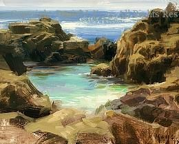 Pacific Rocks - Oil by Daniel J. Keys