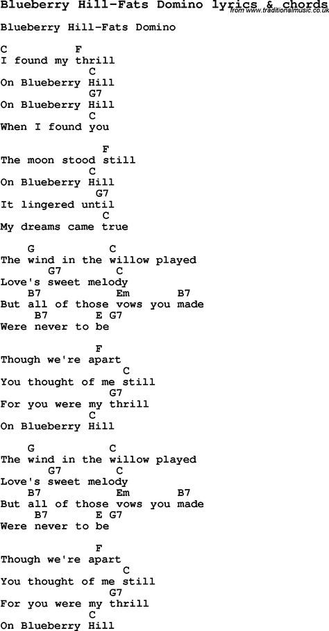 Love Song Lyrics For Blueberry Hill Fats Domino With Chords For