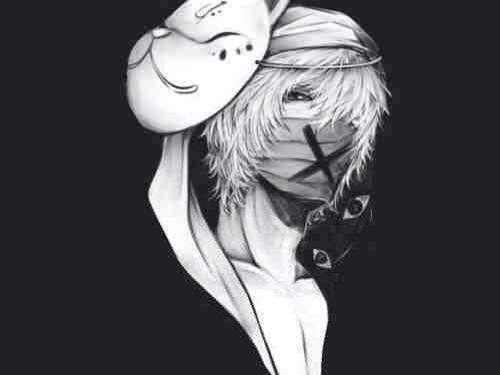 White Hair Black Eyes Cat Mask Black White Boy Anime White Hair Boy White Hair Anime Guy Anime Guys Shirtless