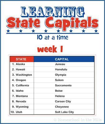 Learning State Capitals Free Printables | Pinterest