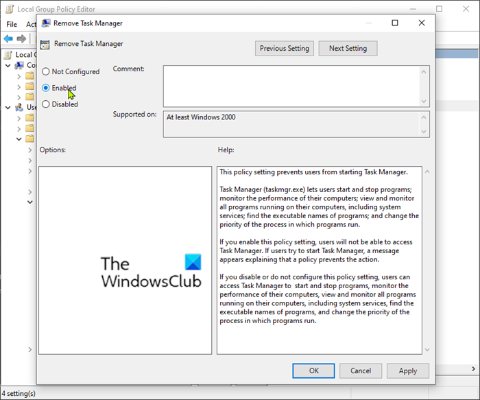 Disable Task Manger Local Group Policy Editor Task Group Policy System Restore