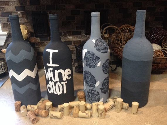 Hand painted wine bottles. chevron, quote, Lilly Pulitzer inspired flowers, and ombre!