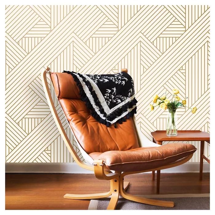 Metallic Ribbon Peel & Stick Wallpaper Gold/Ivory ...