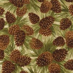 Pine Pinecones Allover Green Timeless Treasures 100/% cotton fabric by the yard