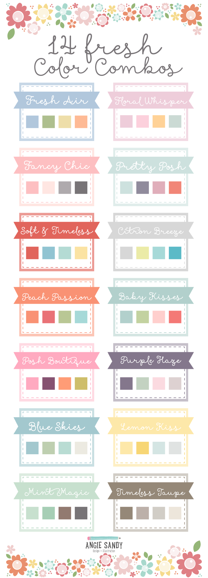 14 Fresh Color Palettes | Angie Sandy Art Licensing & Design #angiesandy #colorpalette #colorcrush