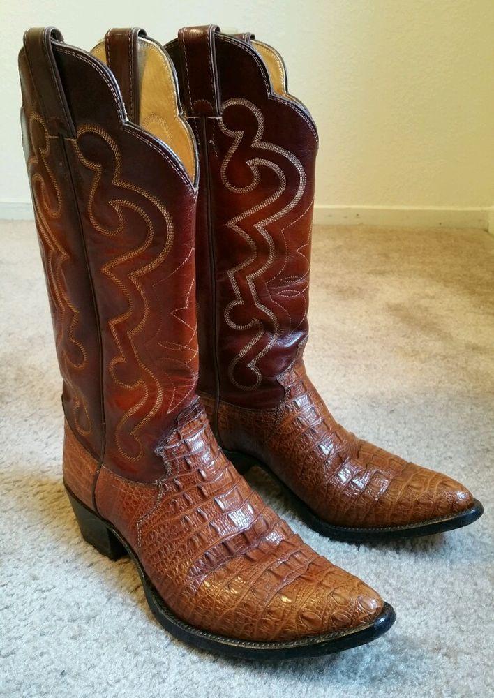 b8156cb0084 Details about Justin Hornback Lizard 9D Cowboy Boots Brown Vintage ...