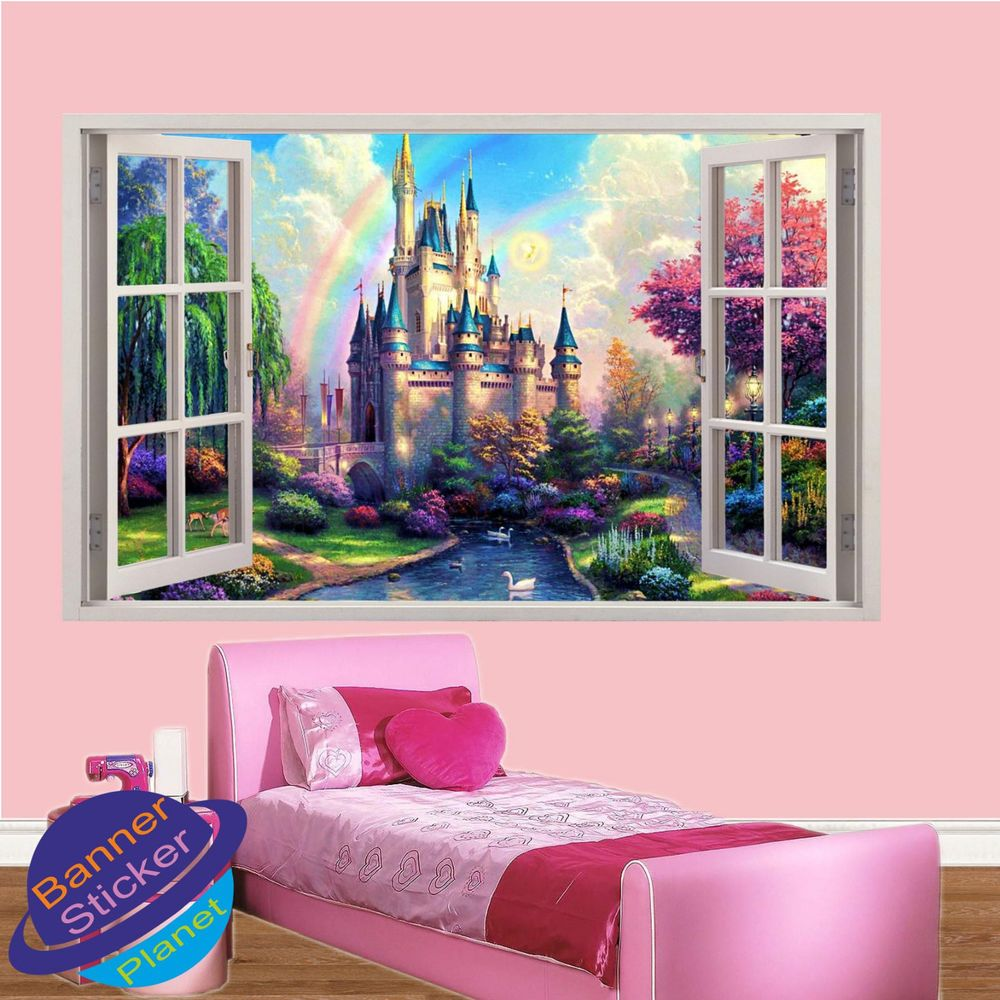 Princess Castle Rainbow 3d Window Wall Sticker Girls Room