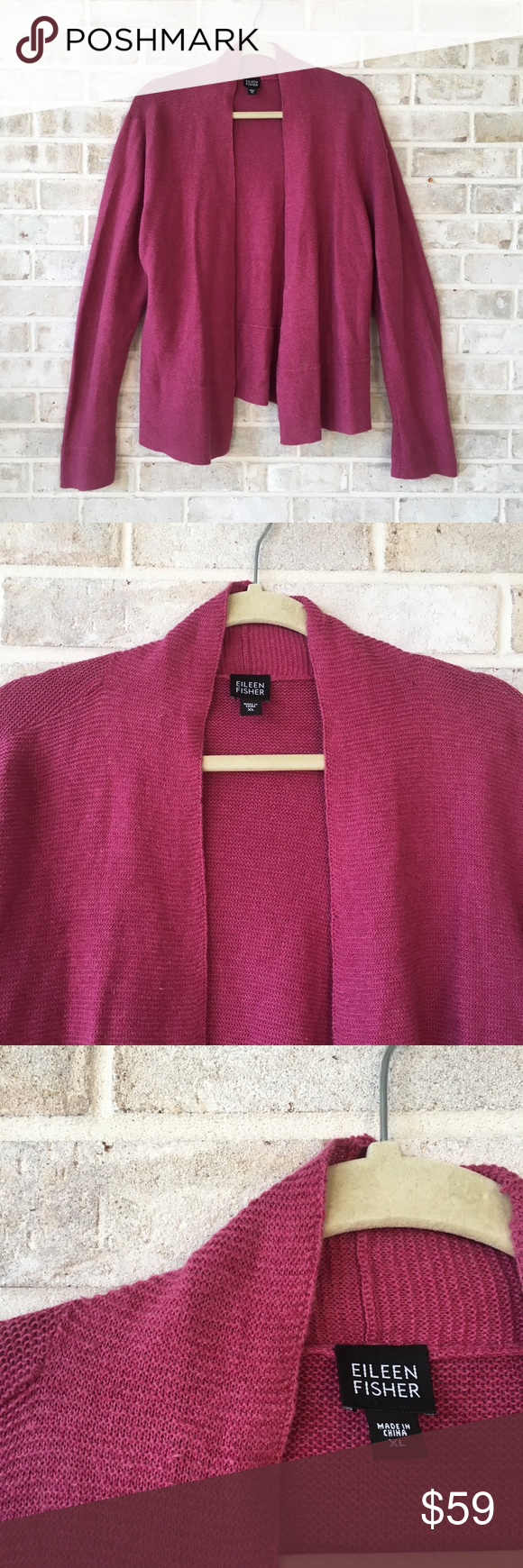 Eileen Fisher Cardigan Sweater Open Size XL Pink | Eileen fisher ...