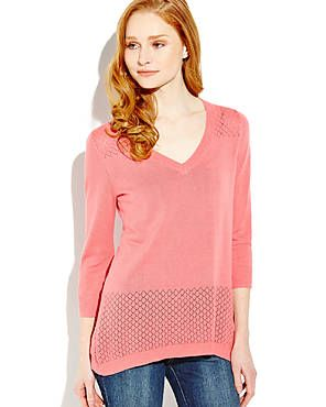 CABLE & GAUGE Three-Quarter Sleeve Pointelle Sweater