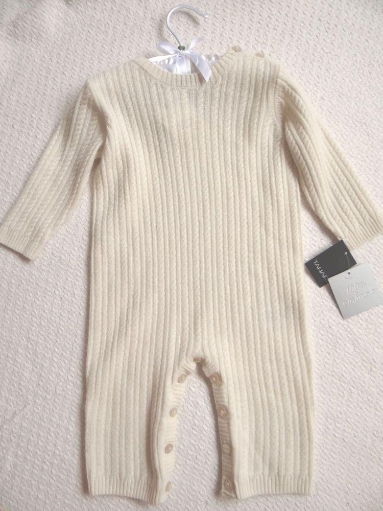 cae5e685c Tahari 100% Cashmere Baby Ivory Cable Knit One Piece Romper Bodysuit 6 9  Months #Tahari