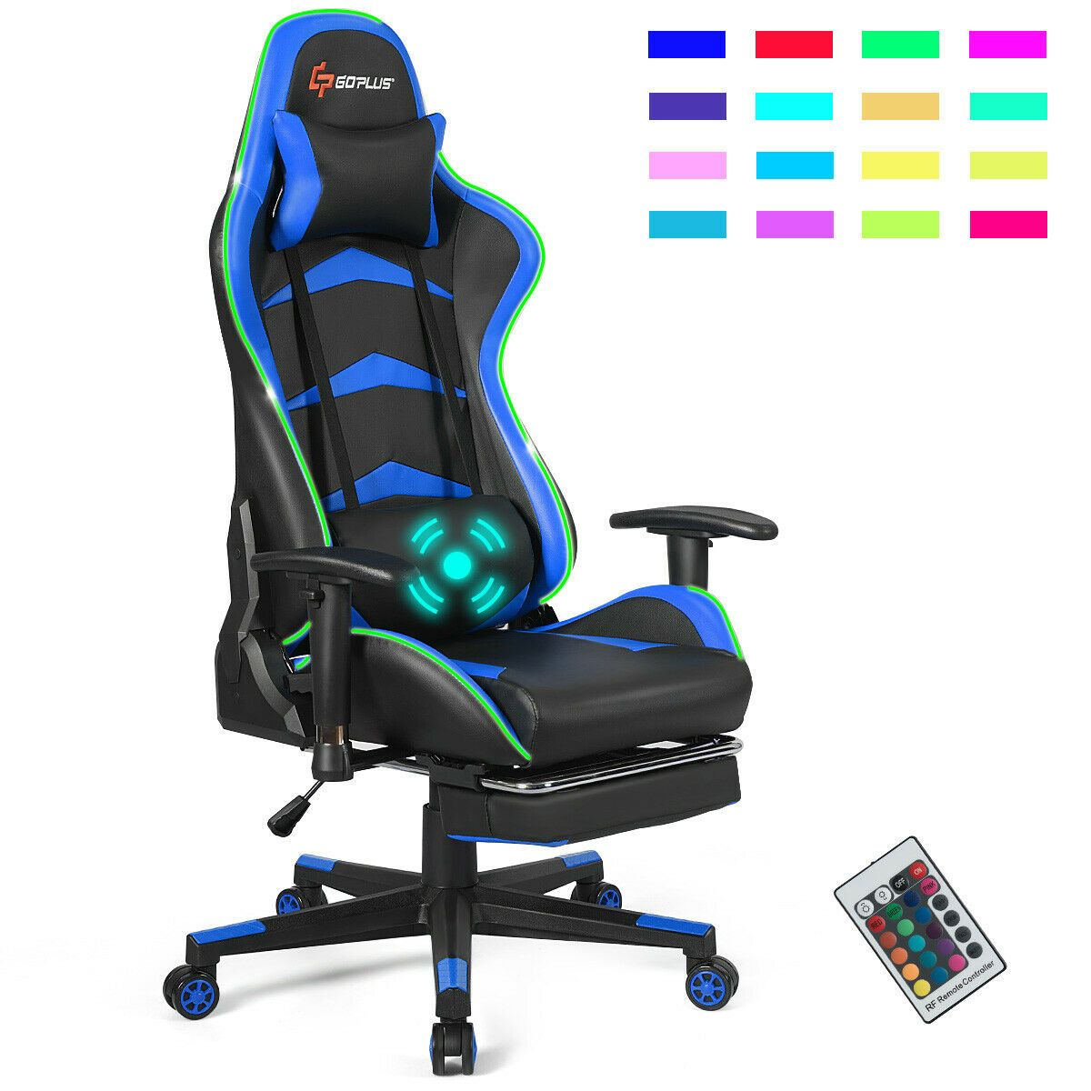Massage Led Gaming Chair With Lumbar Support Footrest Blue In 2020 Gaming Chair Gamer Chair Game Room Chairs