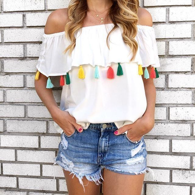 Off The Shoulder Top With Tassels Fashion Clothes Cute Outfits