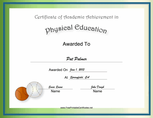 Gym teachers and pe majors will enjoy this free printable gym teachers and pe majors will enjoy this free printable certificate of academic achievement for yadclub Images