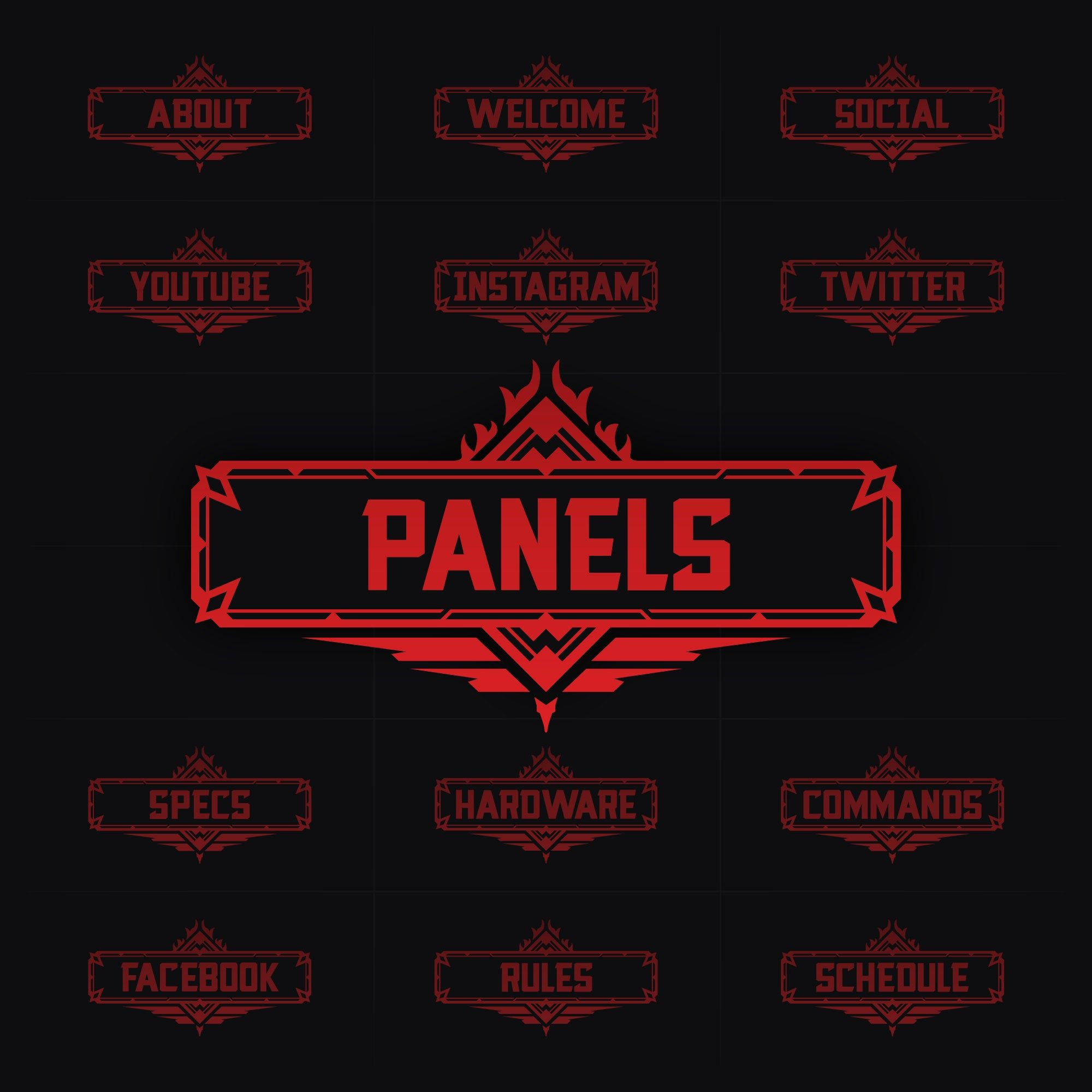 Hunter Apex Legends Theme 18 Twitch Panel Package 5 Color Etsy Twitch Paneling Color Options