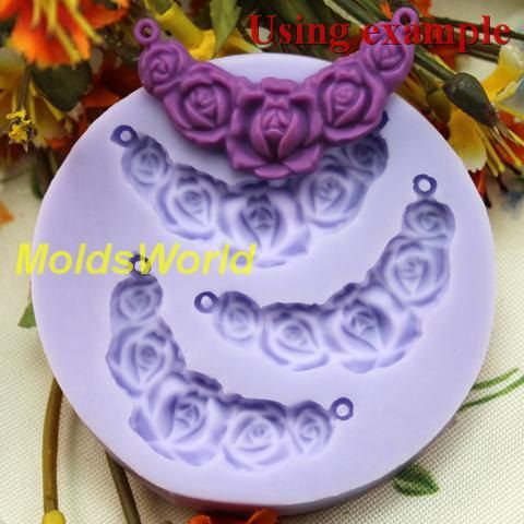 A131 Flower Connector Cabochon 3 Cavity Flexible Silicone Mold Mould for Crafts, Jewelry, Scrapbooking, (resin, Utee, pmc, polymer clay)