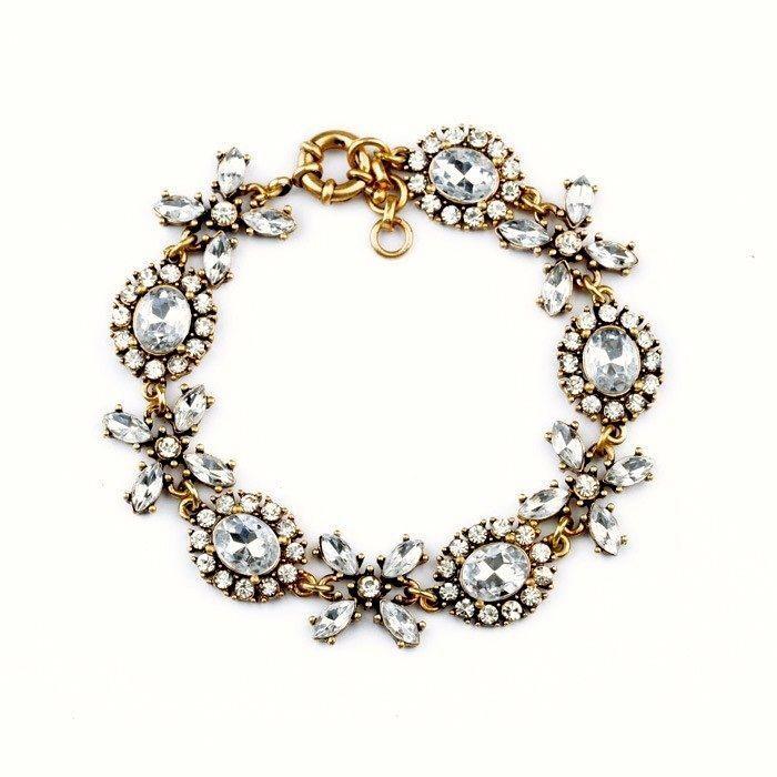 NEW J Crew Retro Deco Vintage Style Crystal Floral Clover Statement Bracelet Bubble US  #ChainStatementCharm