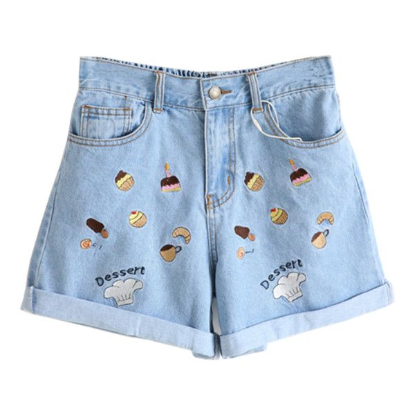 Dessert Embroidery Shorts (70.320 COP) ❤ liked on Polyvore featuring shorts and embroidered shorts
