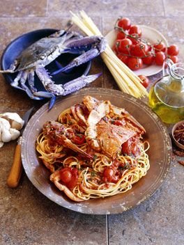 Spaghetti and crab
