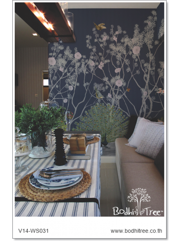 navy pink blue chinoiserie wallpaper and fabric