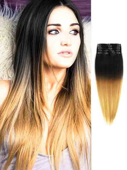 Black To Blonde Silky Cheap Ombre Hair Extensions Hair Pinterest