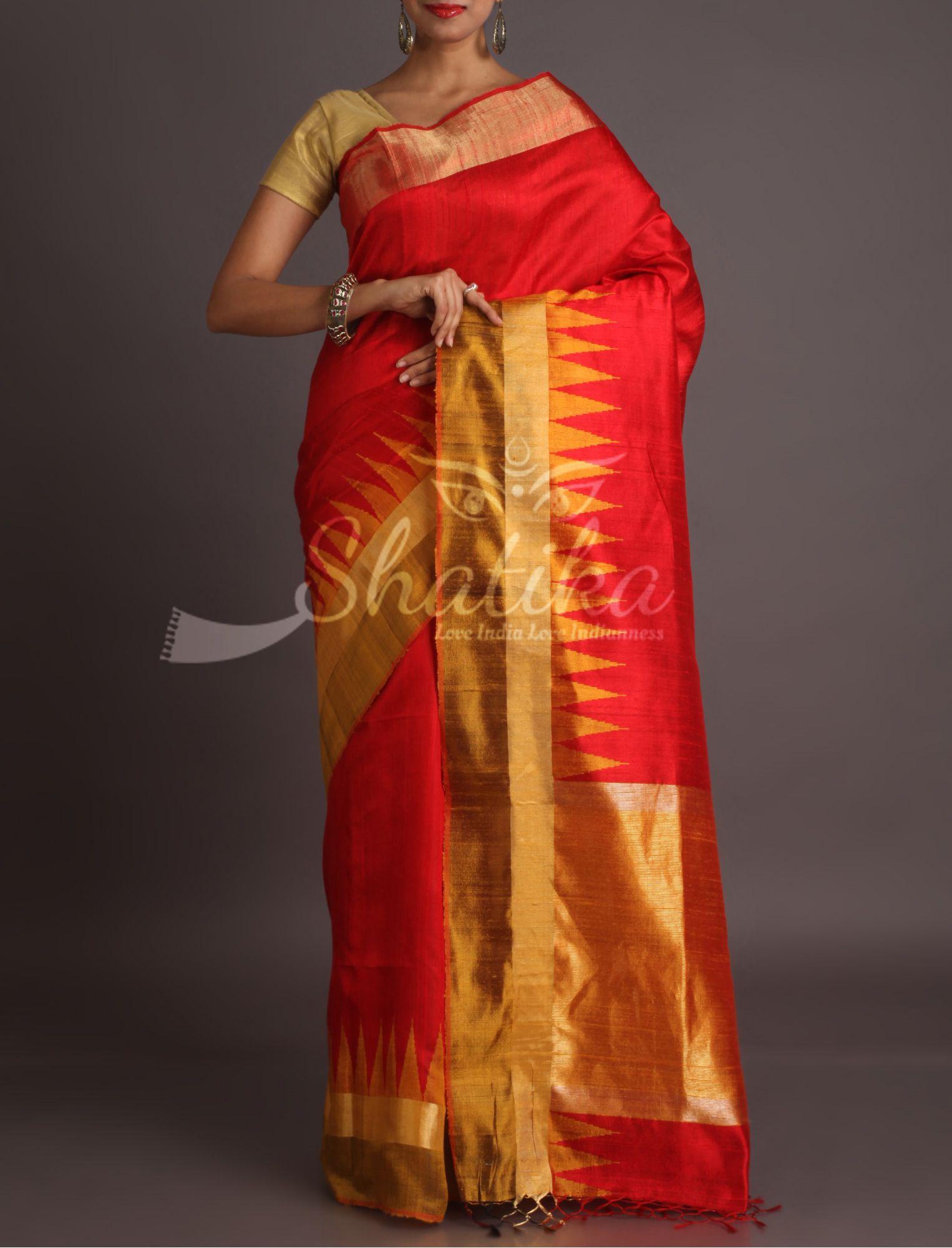 ff798c975f Roshni Bold Red With Golden Temple Border Pure Gicha Silk Saree ...