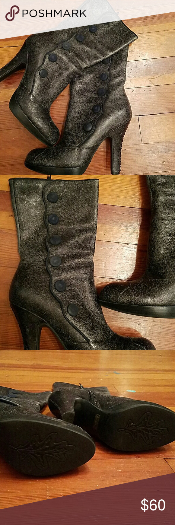 """Sam Edelman """"Patrella"""" Black Shattered Boots These are gorgeous boots with velor buttons up the side on a scalloped edge. Finished off with a shattered/crackle/distressed look. Perfect with a white blouse! Sam Edelman Shoes Heeled Boots"""